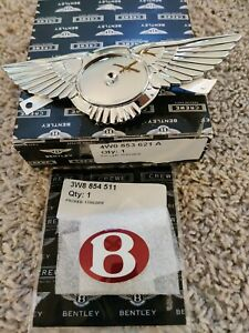 Bentley Flying Spur 2014 Emblem Bentley Wings Emblem Adhesive With Red V8 B