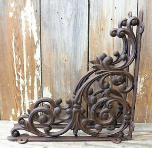 Set Of 2 X large Cast Iron Shelf Brackets Rustic Brown Antique style 13 X 13