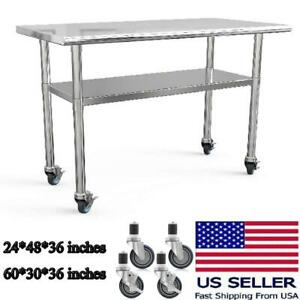 60 48 Stainless Steel Nsf Commercial Kitchen Work Food Prep Table W 4 Casters