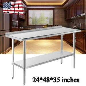 Work Table Food Prep 24 X 48 Stainless Steel Commercial Kitchen Restaurant Usa
