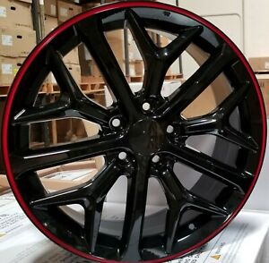 18 Wheels Black Red Rims Si Style Fit 5x114 3 Honda Accord Civic Sedan Coupe