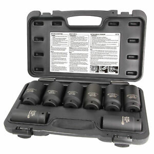 Powerbuilt 8 Piece 1 2 In Drive Impact Rated Metric Axle Nut Socket Set 647752
