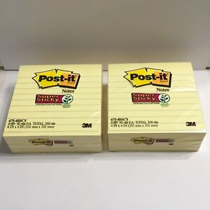 Post it Super Sticky Notes Canary Yellow Lined 4 X 4 360 Sheets 2 Packs