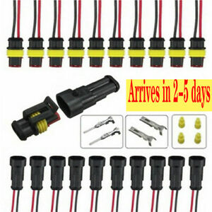 10pcs 2 Pin Way Car Waterproof Electrical Connector Plug With Wire Awg Sealed