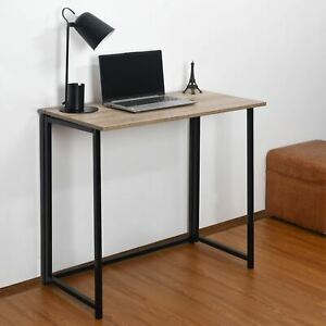 Folding Computer Desk Wooden Top Foldable Study Table Laptop Home Office Pc