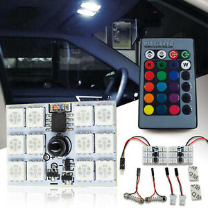 2x 5050 Rgb Led Bulb Interior License Plate Dome Map Universal Bulbs With Remote