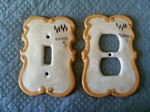 Vintage Hand Painted Ceramic Switch Plate Outlet Covers