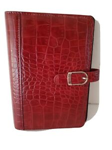 Day Timer Red Leather Daily Planner Faux Crocodile 6 X 8