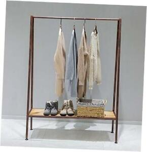 Industrial Pipe Clothing Garment Rack With Solid Wood Bottom Shelves bronze