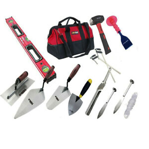 14pcs Hilka Bricklayer Starter Tool Kit With Tool Bag With 24 hd Builder Level