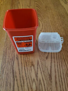 Kendall Sharps Container Biohazard Needle Disposal 1 Qt Size Lot Of 5