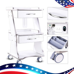 Dental Built in Socket Tool Cart Mobile Metal Trolley Auto water Bottle Supply