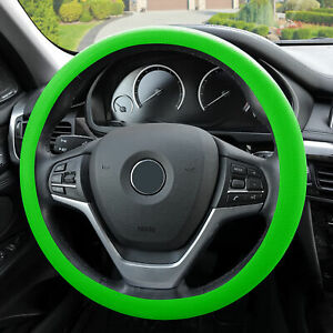 Silicone Steering Wheel Cover Python Snake Skin Design Green For Auto