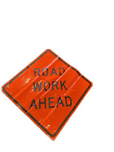 48 Roll Up Vinyl Reflective Road Work Ahead Sign With Sewn Pockets