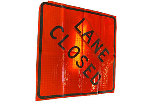 48 Roll Up Vinyl Reflective Lane Closed Sign With Sewn Pockets