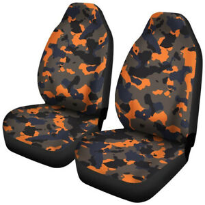 Orange Camouflage Auto Car Front Seat Cover Universal Protector 2 Pack Cushion