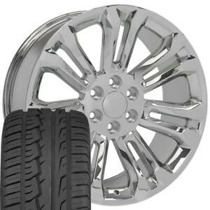 5666 Chrome 22 Wheels Tires Set Fit Silverado Tahoe Yukon Sierra