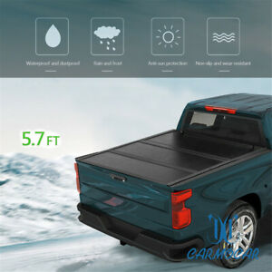 5 7 Ft Tri Fold Hard Solid Tonneau Cover For 04 15 Nissan Titan Bed Pickup Truck