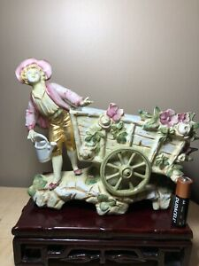 Antique German Porcelain Figurine Of A Boy By Flower Cart