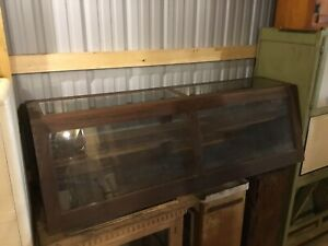 Vintage Angled Display Case Beautiful Wood And Glass W Sliding Doors