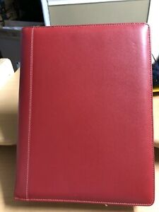 Red Levenger Leather Executive Portfolio Notebook Zip Around 11 X 13