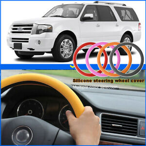 Car Silicone Steering Wheel Glove Cover Texture Soft Black For Ford Expedition