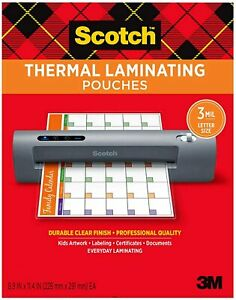 Scotch Thermal Laminating Pouches 8 9 X 11 4 3mil Pick Your Own Of Pouch