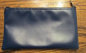 1 New Navy Blue Vinyl Zipper Bank Bag Money Jewelry Pouch Coin Currency Wallet
