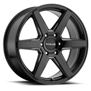 New Set Of 4 Raceline Wheels Surge 18x8 6x120 35 Black Machined Face