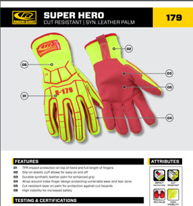 R 179 Ringers Gloves Impact 179 12 2xl High Visibility Synthetic Leather Ansi 5