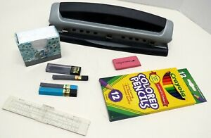 Desk Items Grouping Three Hole Punch Color Pencils Erasers Slide Rule Plus