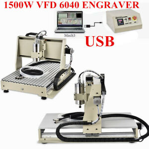 Usb 3 Axis 6040 Cnc Router Engraver Metalworking 3d Cutter Milling 1500w Vfd New