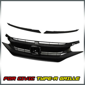 For 2016 2017 2018 Civic 10th Glossy Black Front Upper Hood Mesh Grille