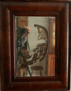 Antique Mirror With Lots Of Character Dark Wooden Frame Vintage