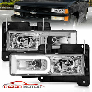 1988 1998 Gmc Sierra Chevy C K 1500 2500 3500 Led Bar Headlight Bumper Lamp