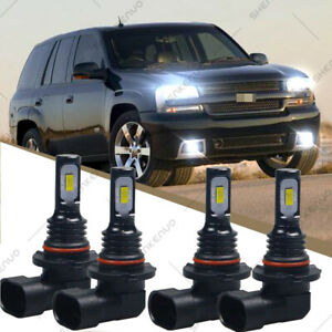 6000k Front Led Headlight Bulbs For Chevy Trailblazer 2002 2009 High Low Beam