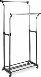Garment Rack Clothing Closet Racks Whitmor Adjustable Double rolling Clothes Or
