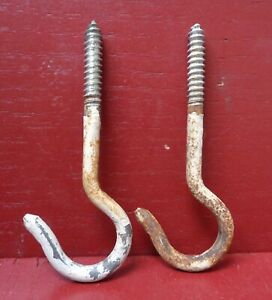 2 Vintage Old Shabby Plant Hook Wash Line Swing Utility 4a1104