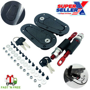 Quick Release Hood Pin Locking Latch Kit Carbon Fiber Universal Usa Seller