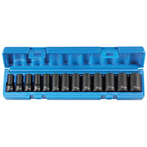 13 Pc 3 8 Drive 6 Point Metric Semideep Socket Set Gry 1213msd