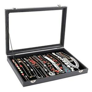 20 Hooks Necklace Tray Storage Box Jewelry Display Stackable Glass Top Lockable
