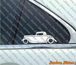 2x Vintage Car Stickers For 1934 Ford 3 Window Coupe Street Hotrod Classic