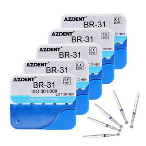 5 X Burs Dental Diamond Drills Ball Round Br 31 For High Speed Handpiece Azdent