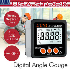 Digital Lcd Protractor Level Box Magnetic Angle Finder Inclinometer W Backlight