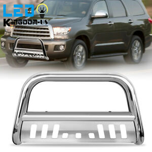 For 2008 2021 Toyota Tundra Sequoia Steel 3 Bull Bar Push Bumper Grille Guard