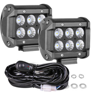 4 Cree Led Work Light Bar Pods Spot 6000k Driving Off Road 4wd 12v Wiring Kit
