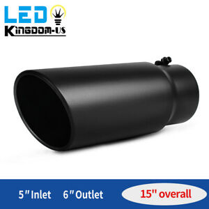 Diesel Exhaust Tip 5 Inlet 6 Outlet Bolt On Black Tail Pipe Stainless Steel