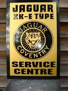 1950 S 60 S Style Jaguar Xke Series Service Centre Sign Ad W Growler Badge 24x16