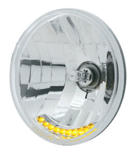 7 Round Crystal Halogen Headlight W 10 Amber Leds For H6017 Or H6024
