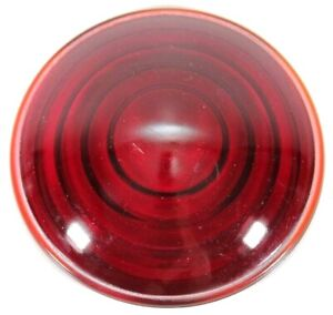 Vintage Red Glass Tail Light Lens Stop Lamp Cover Car Truck Railroad 3 1 8